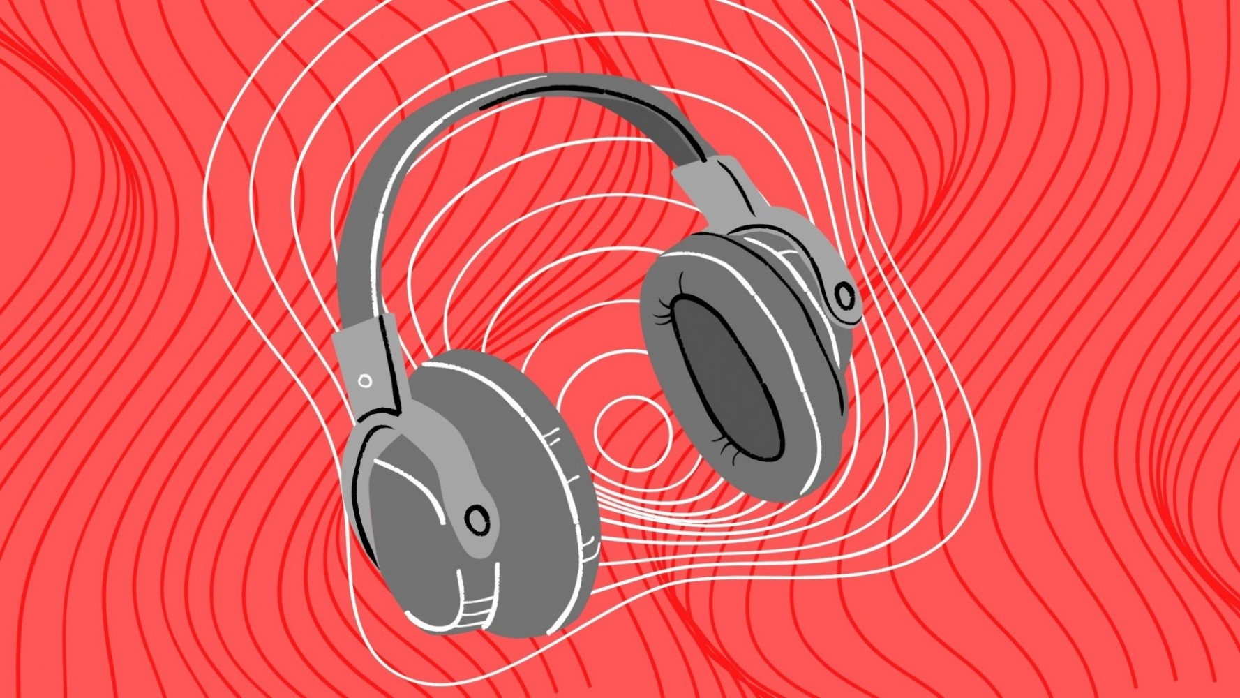 Headphones surrounded by sound waves