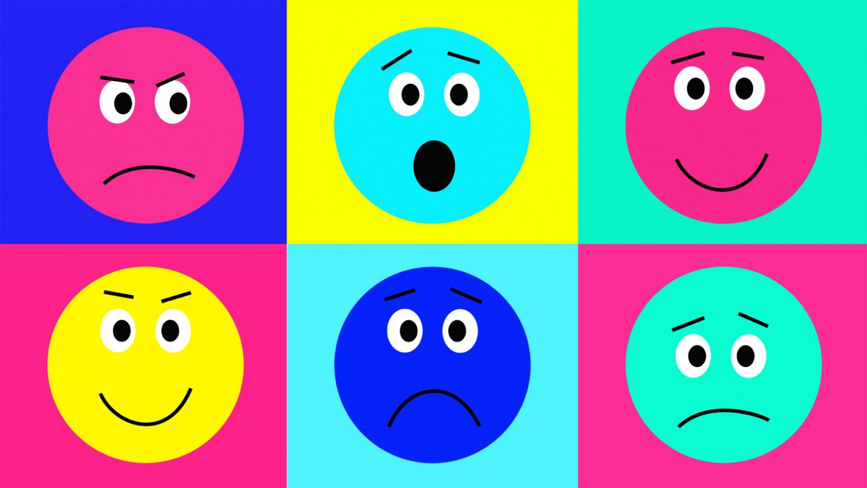 Illustration with six emoticons representing different emotions