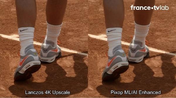 Figure 9 : Lanczos versus Pixop upconversion side by side comparison (Source: Xavier Ducloux)